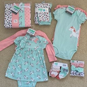 Carters 3-6 month girls matching basics set NWT